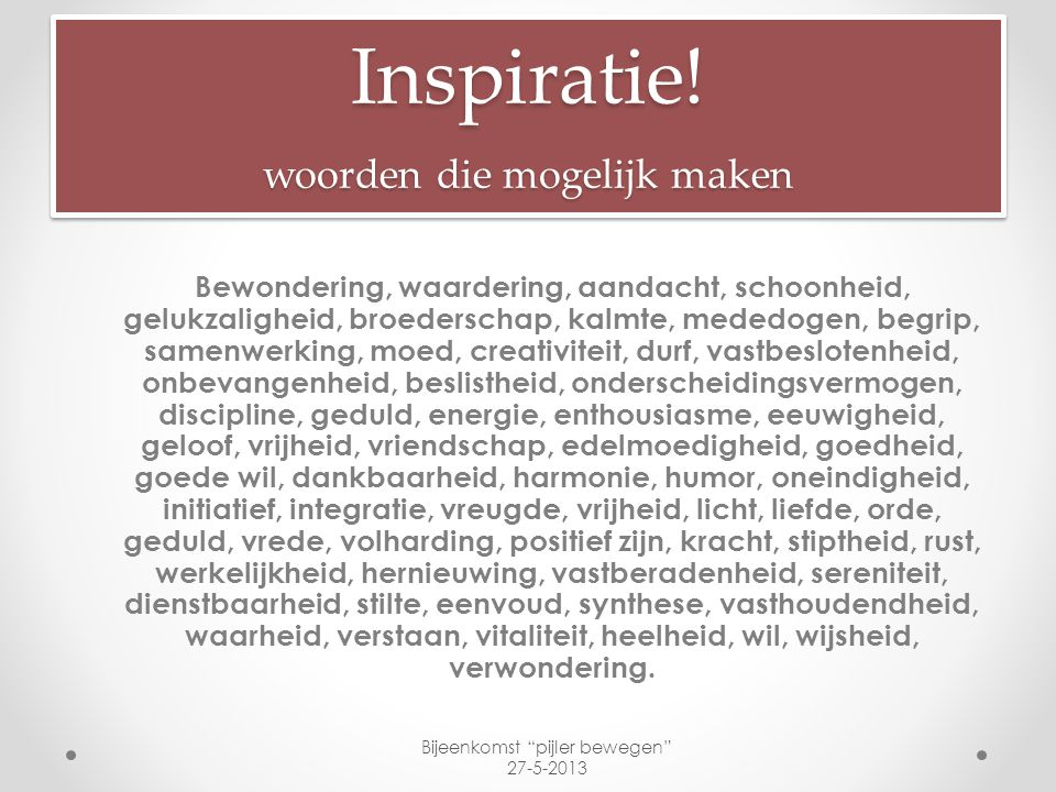 Inspiratie! woorden die mogelijk maken