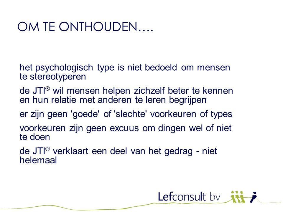 OM TE ONTHOUDEN…. het psychologisch type is niet bedoeld om mensen te stereotyperen.