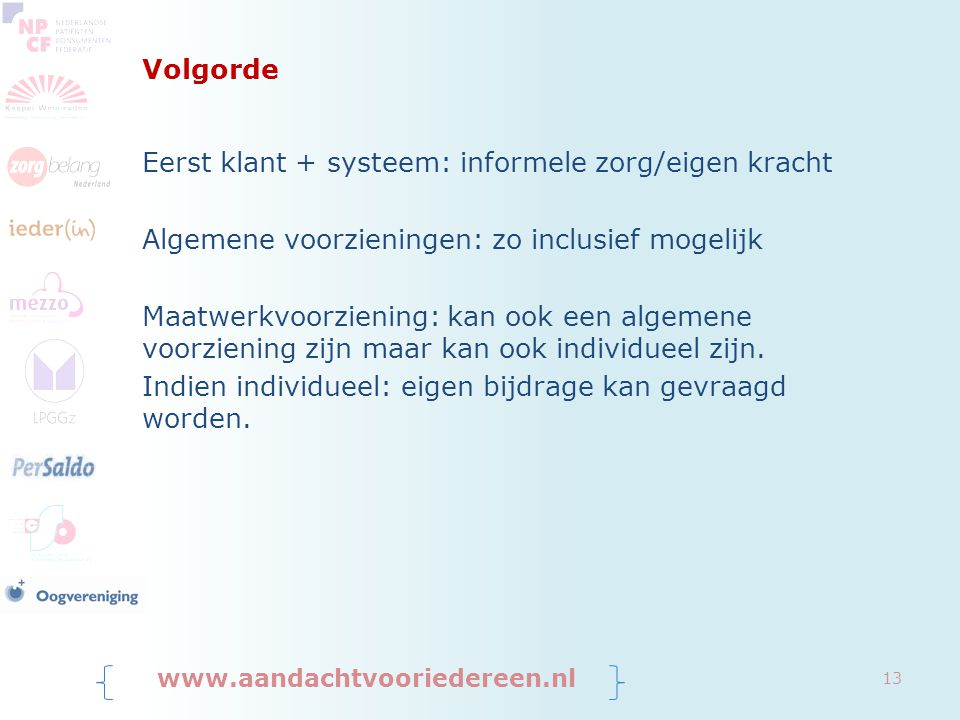 Eerst klant + systeem: informele zorg/eigen kracht