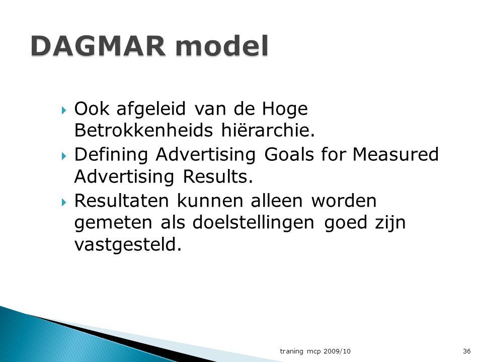 DAGMAR model Ook afgeleid van de Hoge Betrokkenheids hiërarchie.