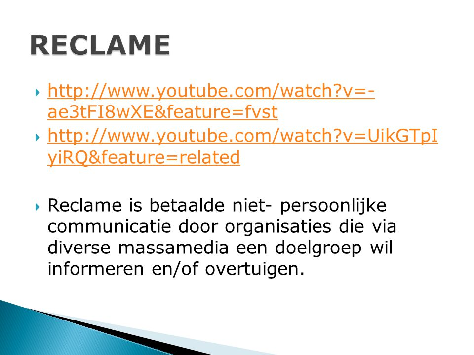 RECLAME http://www.youtube.com/watch v=- ae3tFI8wXE&feature=fvst