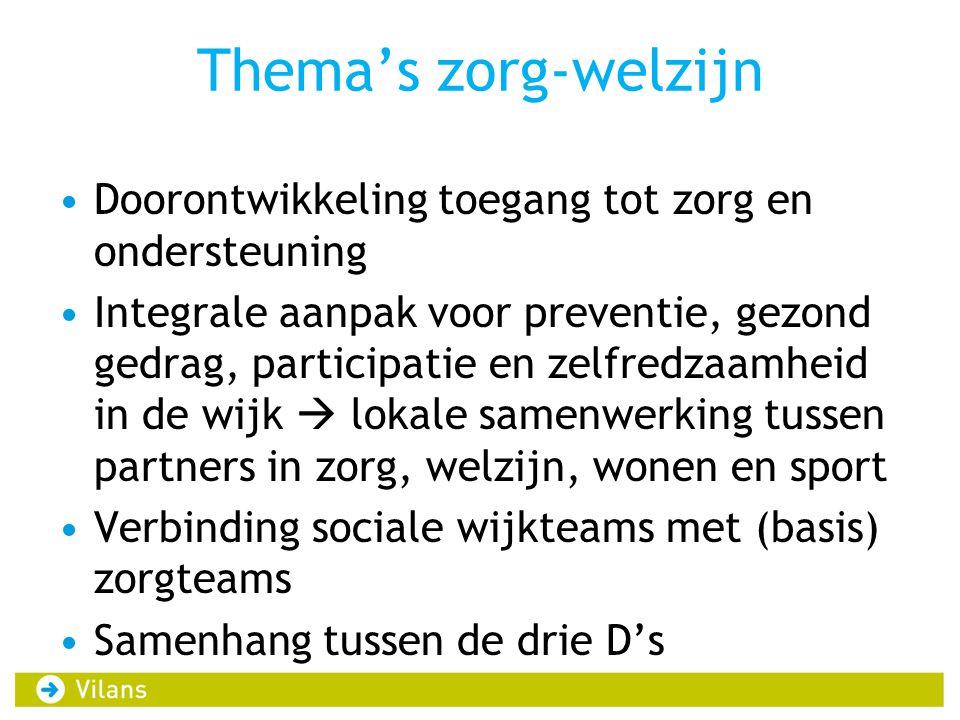 Thema's zorg-welzijn Doorontwikkeling toegang tot zorg en ondersteuning.