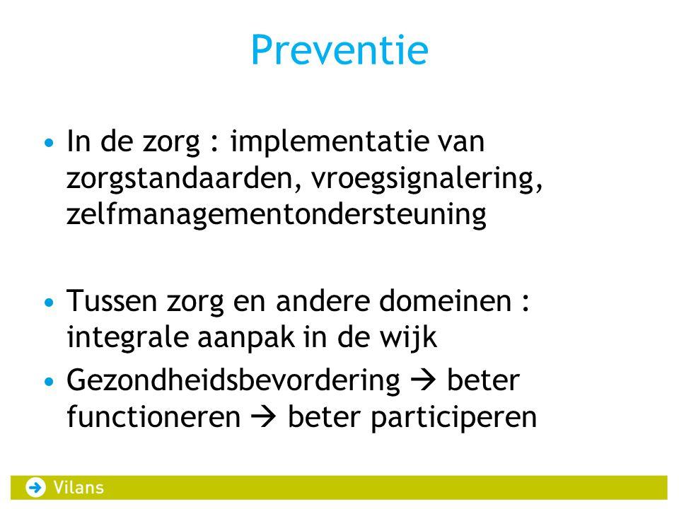 Preventie In de zorg : implementatie van zorgstandaarden, vroegsignalering, zelfmanagementondersteuning.