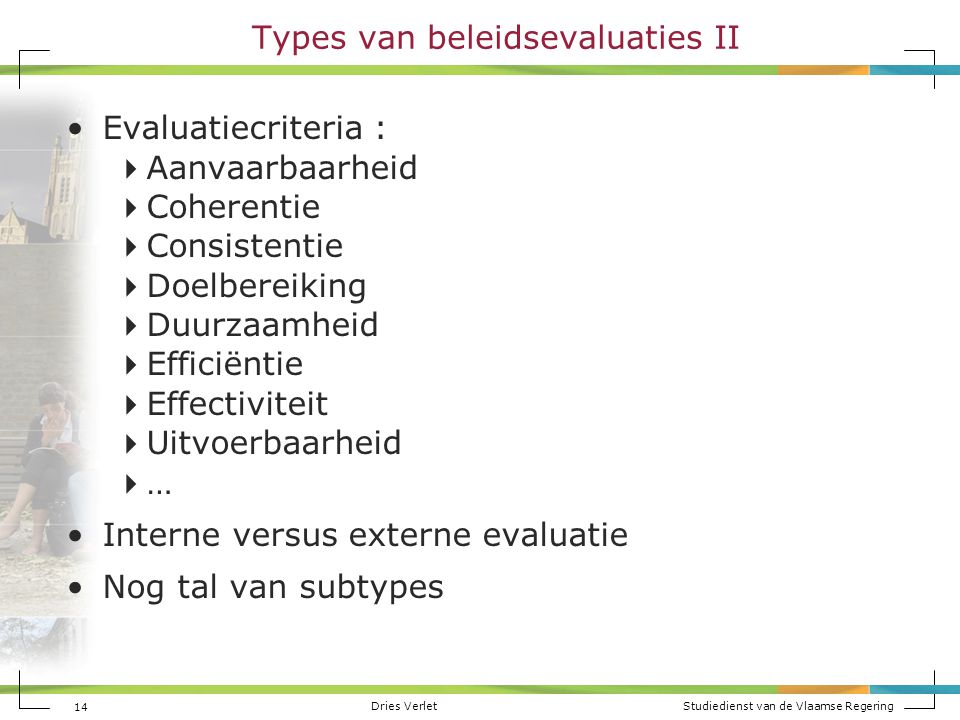 Types van beleidsevaluaties II