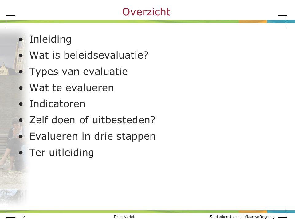 Overzicht Inleiding Wat is beleidsevaluatie Types van evaluatie
