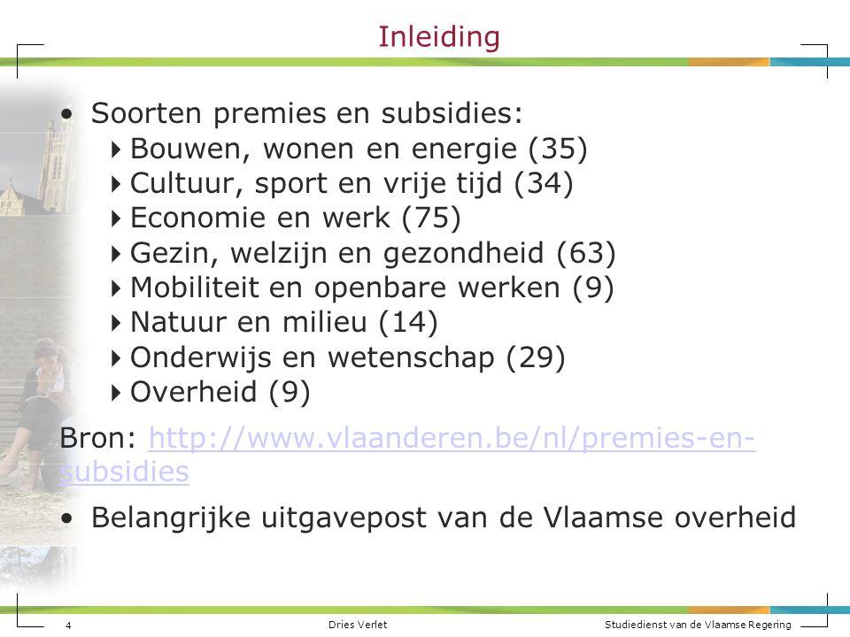 Inleiding Soorten premies en subsidies: Bouwen, wonen en energie (35) Cultuur, sport en vrije tijd (34)