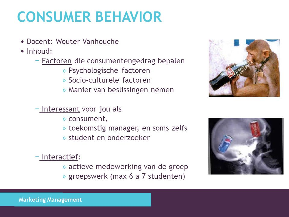Consumer Behavior Docent: Wouter Vanhouche Inhoud: