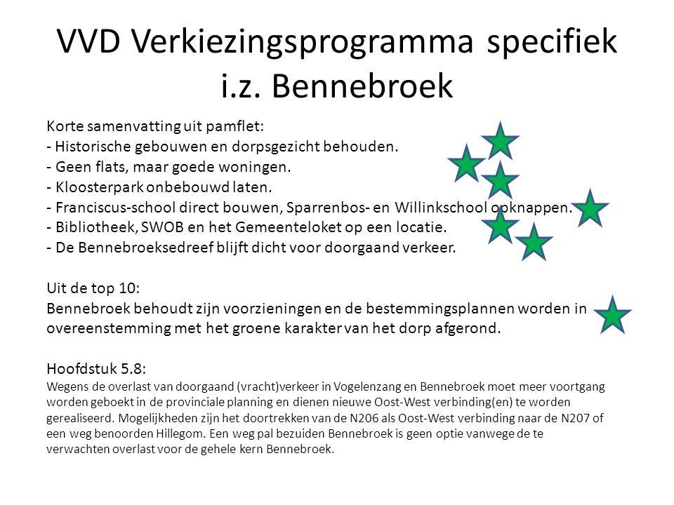 VVD Verkiezingsprogramma specifiek i.z. Bennebroek