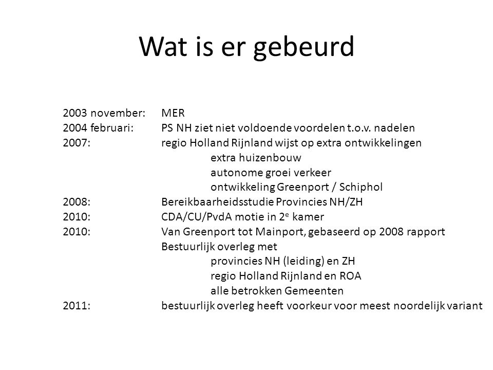 Wat is er gebeurd 2003 november: MER