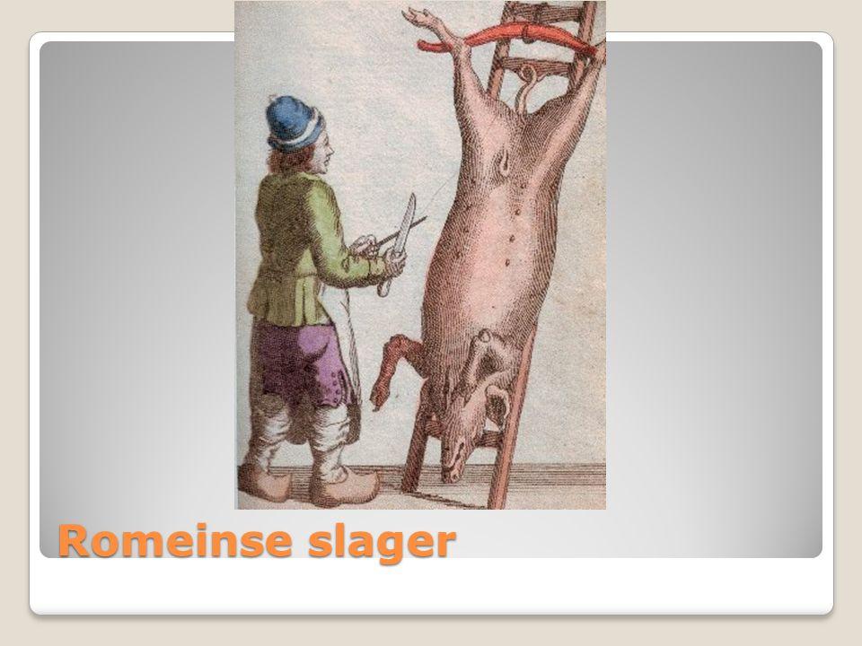 De romeinse slagers hadden ook een weegschaal,hakmes,kapblok,ham en worsten.maar ze hadden geen ijskast , geen koeltoog en geen bereide gerechten.