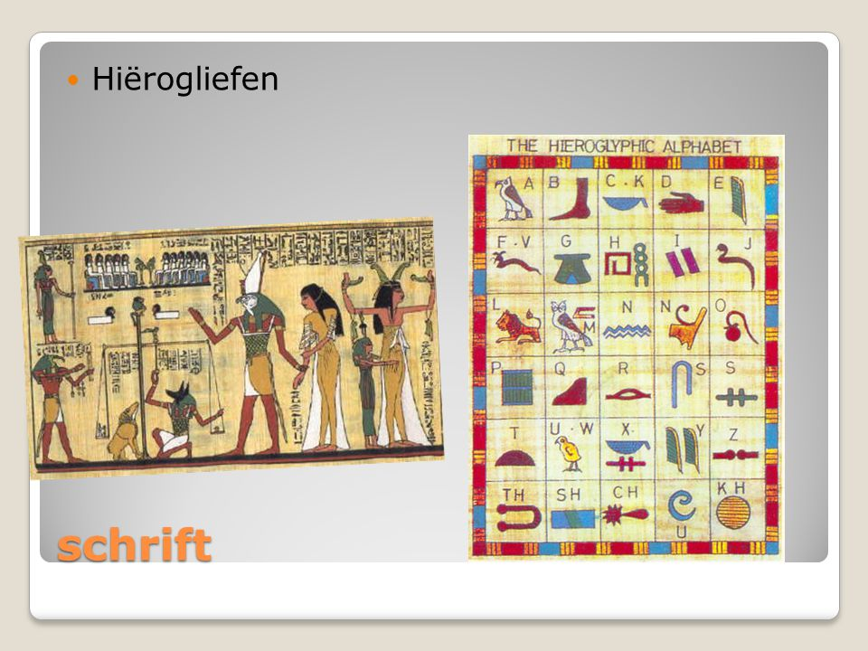 Hiërogliefen Het hiërogliefschrift is niet gemakkelijk. Het bestaat uit duizenden tekens. De farao schreef niet zelf hij had een schrijver.