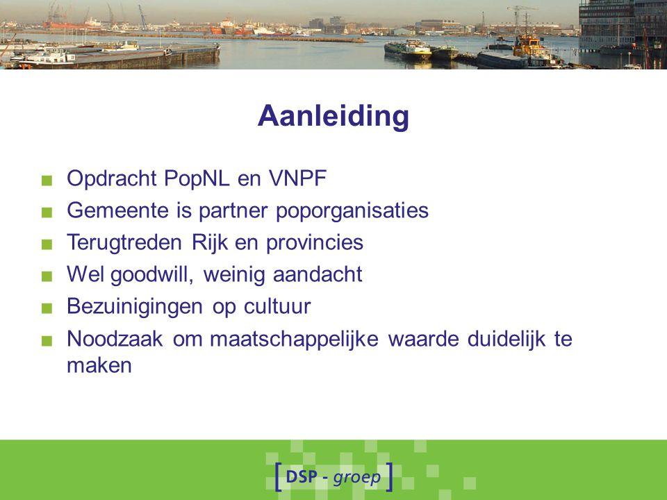 Aanleiding Opdracht PopNL en VNPF Gemeente is partner poporganisaties