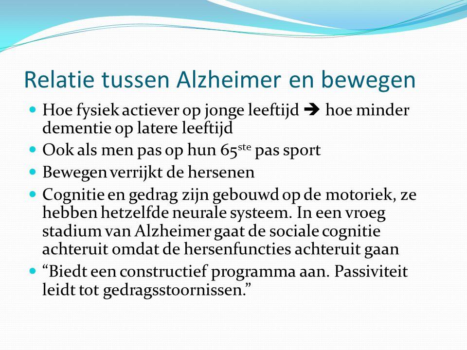 Relatie tussen Alzheimer en bewegen