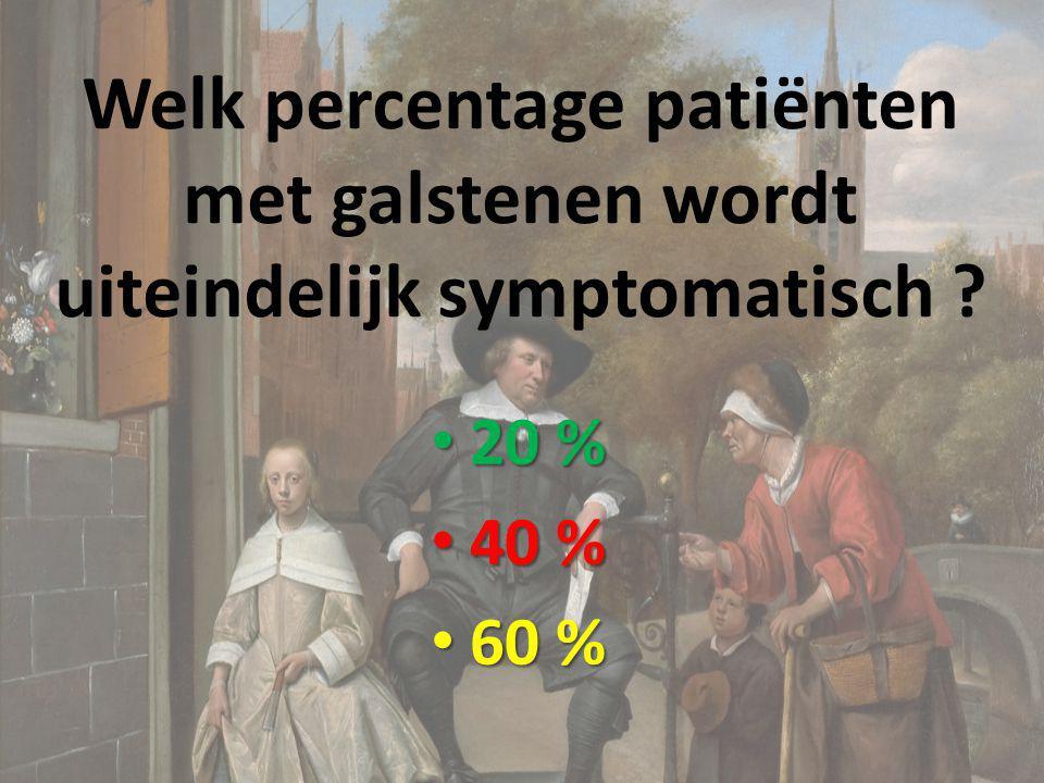 Welk percentage patiënten met galstenen wordt uiteindelijk symptomatisch