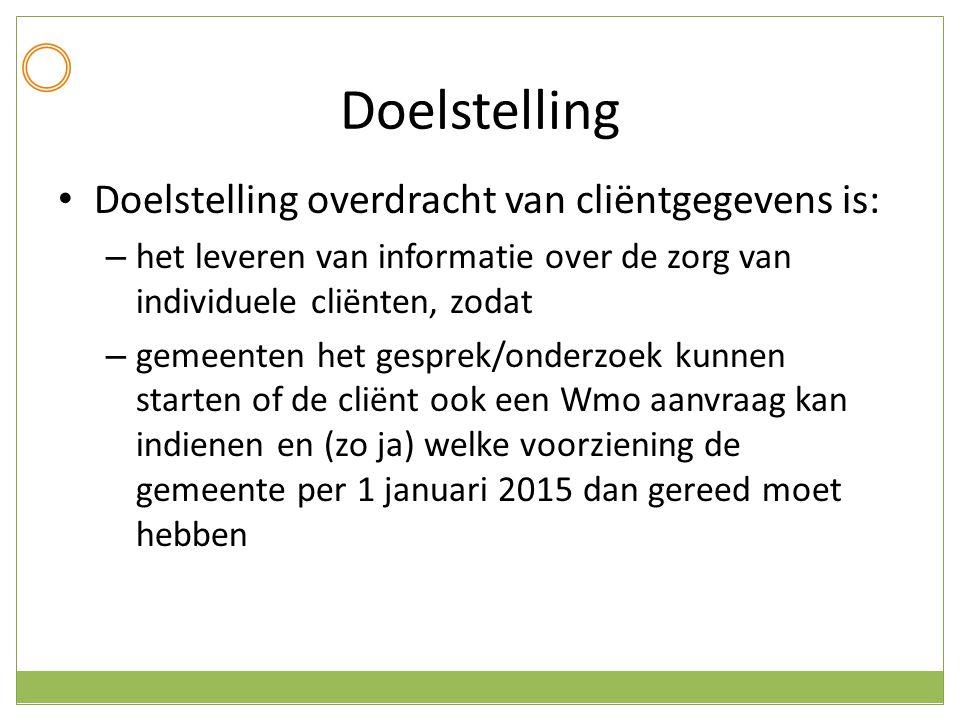 Doelstelling Doelstelling overdracht van cliëntgegevens is: