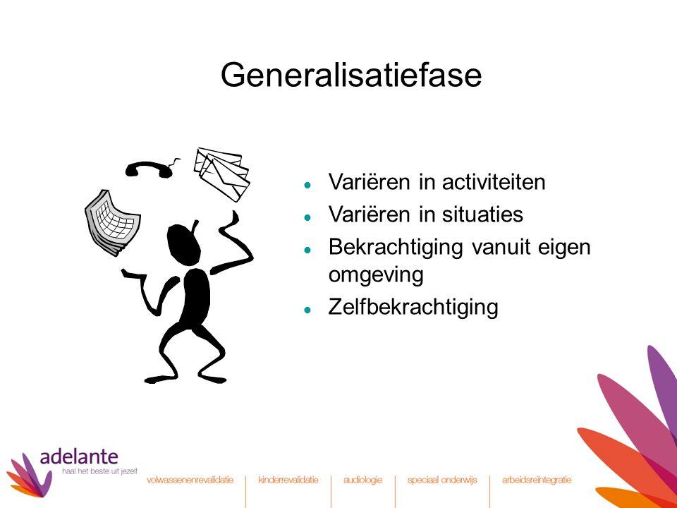 Generalisatiefase Variëren in activiteiten Variëren in situaties