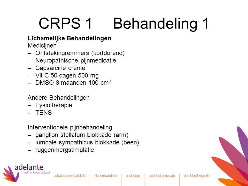 CRPS 1 Behandeling 1 Lichamelijke Behandelingen Medicijnen