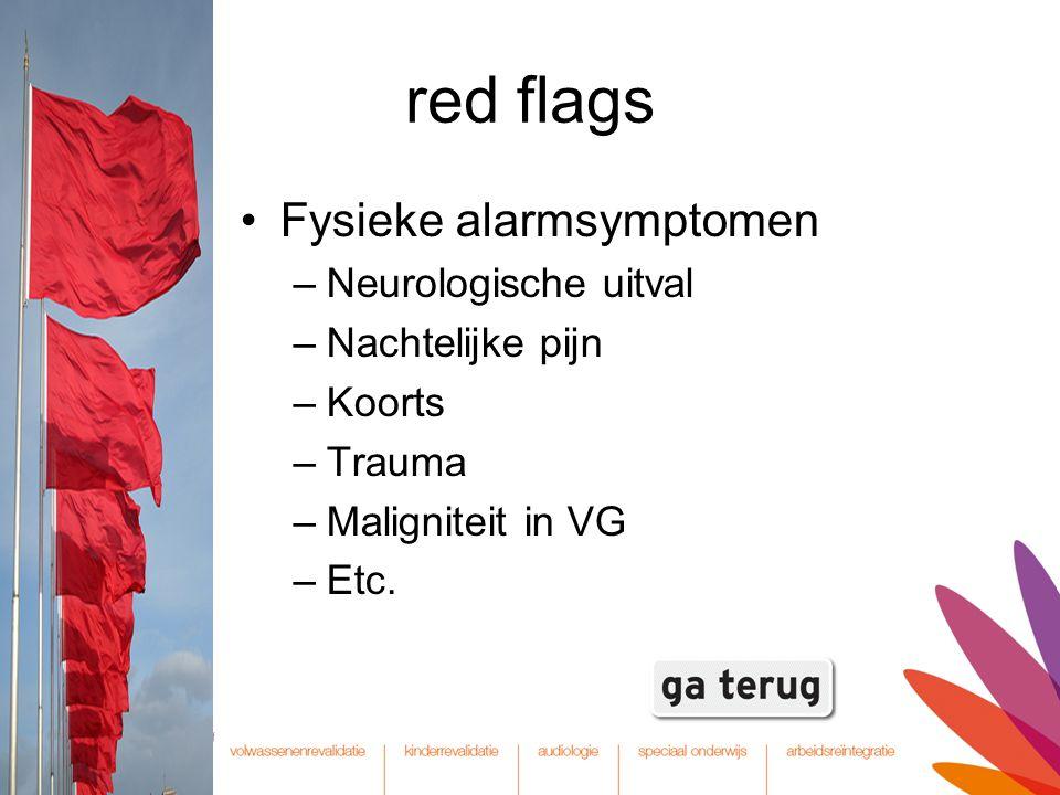 red flags Fysieke alarmsymptomen Neurologische uitval Nachtelijke pijn