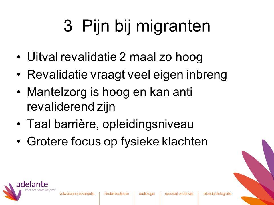 3 Pijn bij migranten Uitval revalidatie 2 maal zo hoog