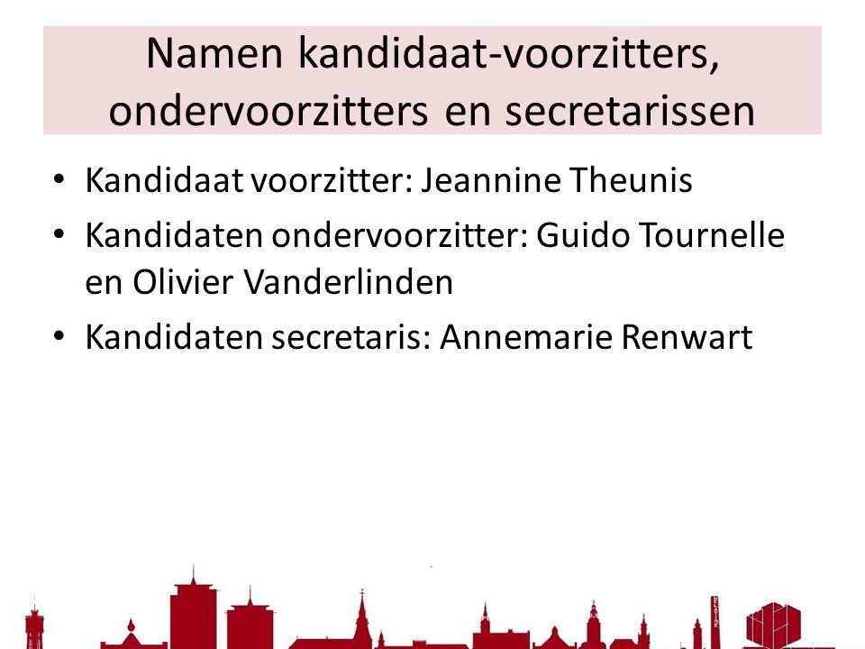 Namen kandidaat-voorzitters, ondervoorzitters en secretarissen