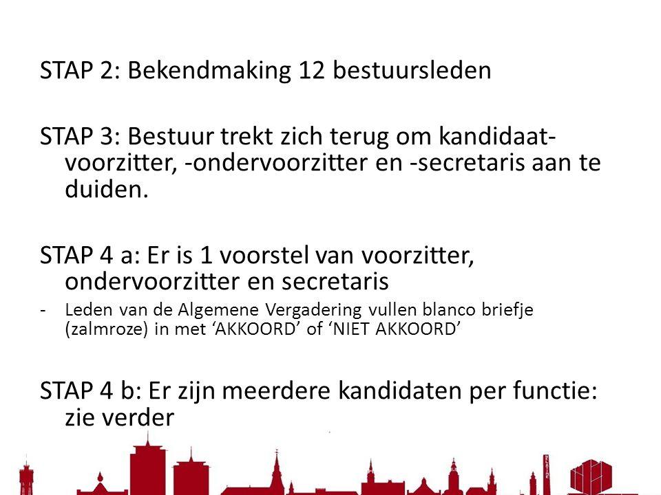 STAP 2: Bekendmaking 12 bestuursleden