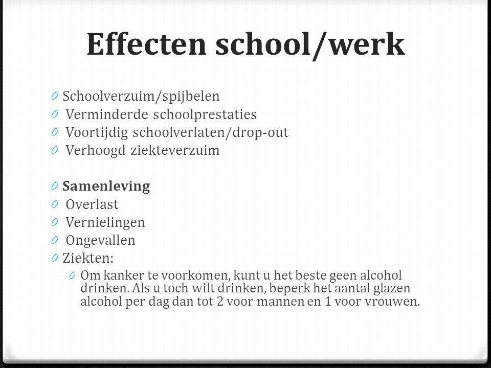 Effecten school/werk Schoolverzuim/spijbelen
