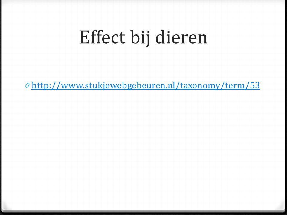 Effect bij dieren http://www.stukjewebgebeuren.nl/taxonomy/term/53