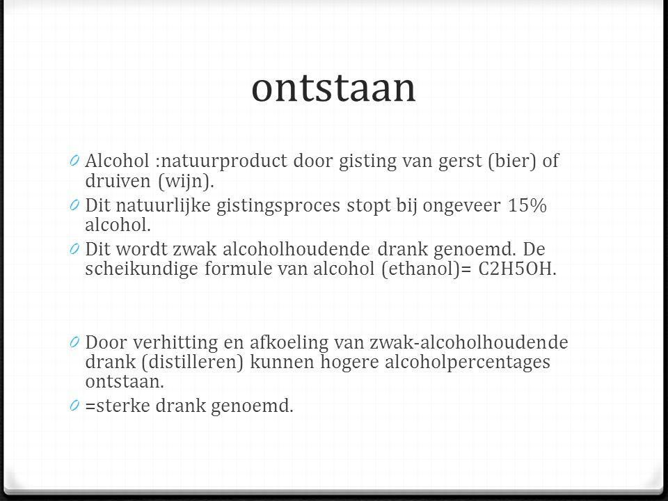 ontstaan Alcohol :natuurproduct door gisting van gerst (bier) of druiven (wijn). Dit natuurlijke gistingsproces stopt bij ongeveer 15% alcohol.