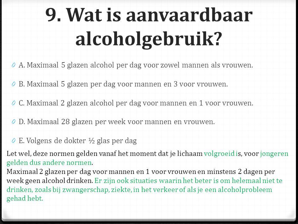 9. Wat is aanvaardbaar alcoholgebruik