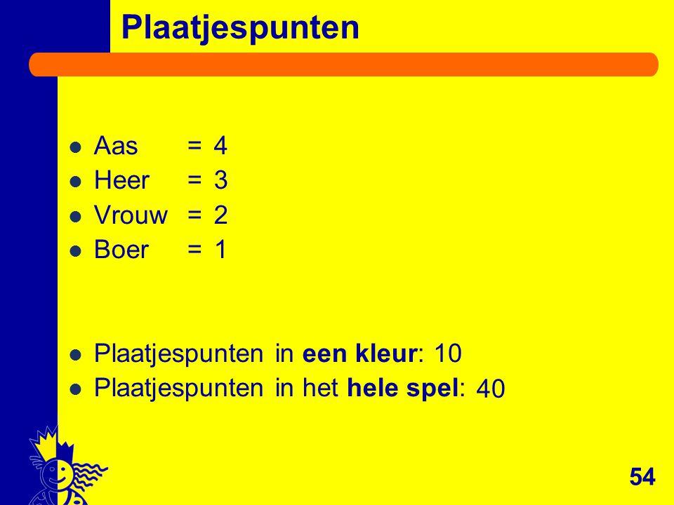 Plaatjespunten Aas = 4 Heer = 3 Vrouw = 2 Boer = 1