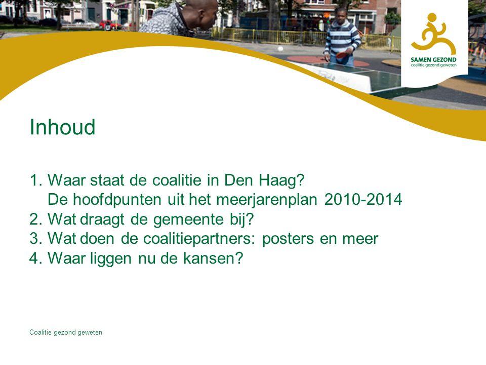 Inhoud Waar staat de coalitie in Den Haag De hoofdpunten uit het meerjarenplan 2010-2014. Wat draagt de gemeente bij