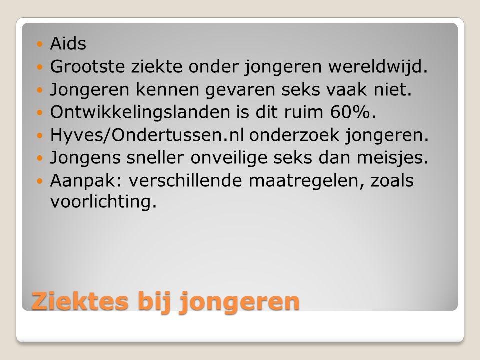 Ziektes bij jongeren Aids Grootste ziekte onder jongeren wereldwijd.