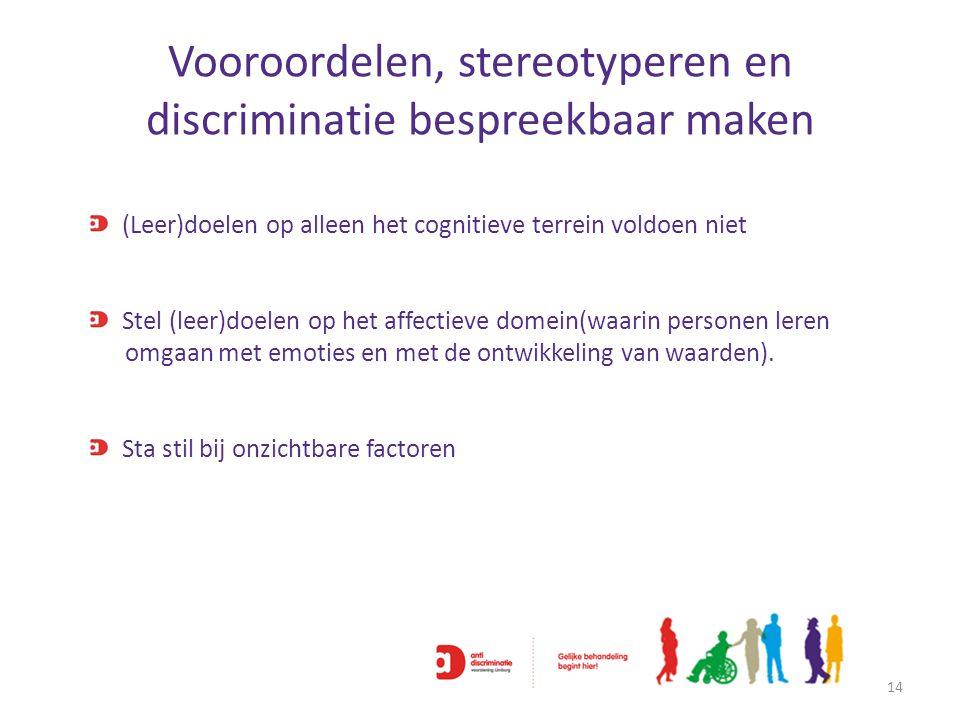 Vooroordelen, stereotyperen en discriminatie bespreekbaar maken