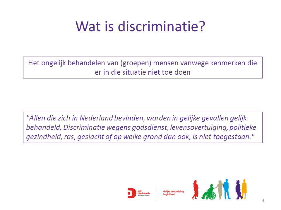 Wat is discriminatie Het ongelijk behandelen van (groepen) mensen vanwege kenmerken die er in die situatie niet toe doen.