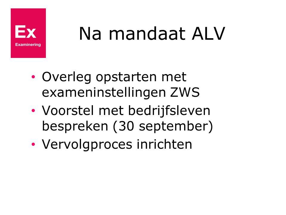Na mandaat ALV Overleg opstarten met exameninstellingen ZWS