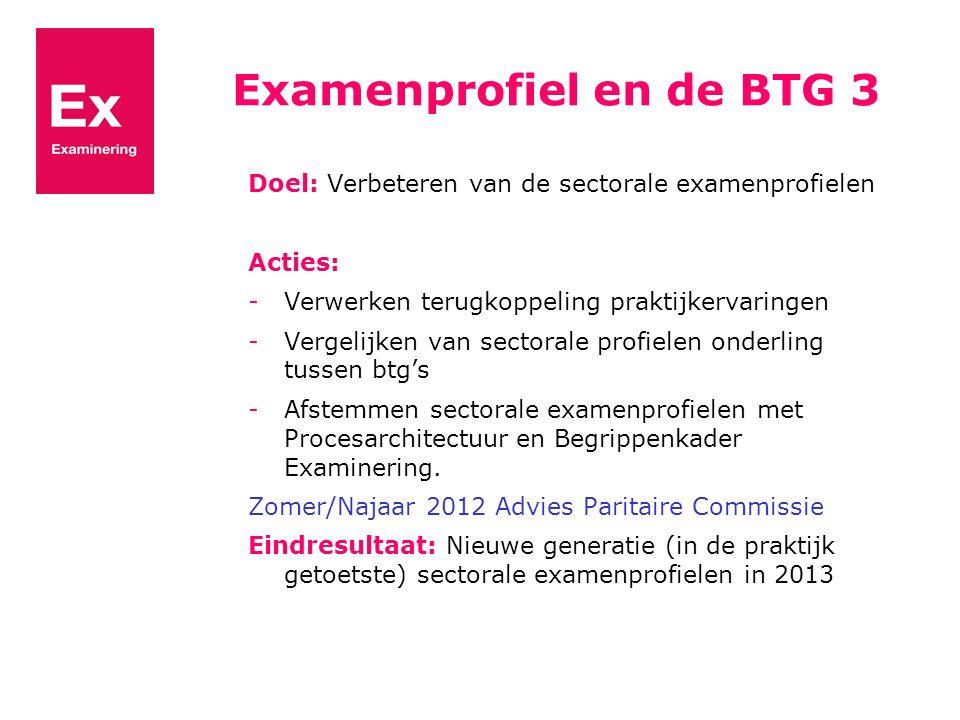 Examenprofiel en de BTG 3