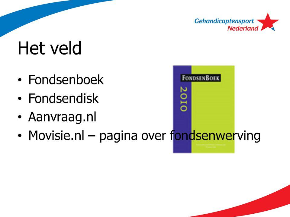 Het veld Fondsenboek Fondsendisk Aanvraag.nl