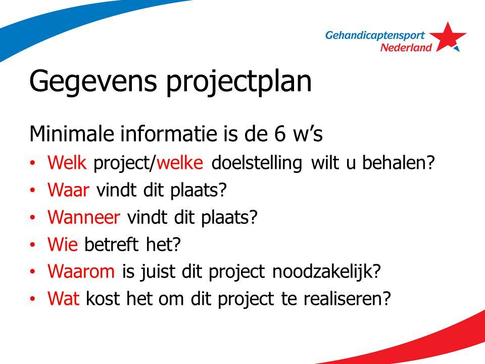 Gegevens projectplan Minimale informatie is de 6 w's