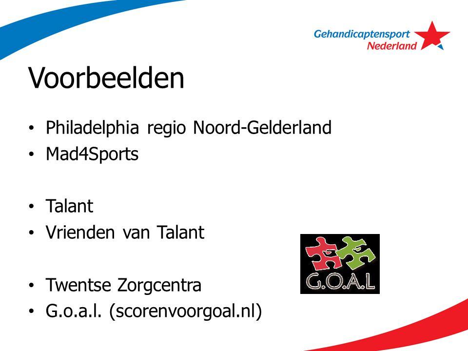 Voorbeelden Philadelphia regio Noord-Gelderland Mad4Sports Talant