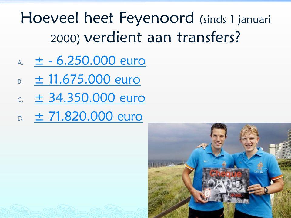 Hoeveel heet Feyenoord (sinds 1 januari 2000) verdient aan transfers