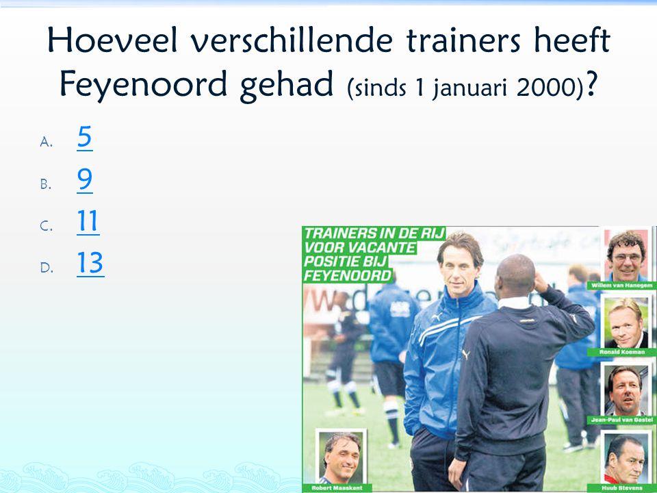 Hoeveel verschillende trainers heeft Feyenoord gehad (sinds 1 januari 2000)