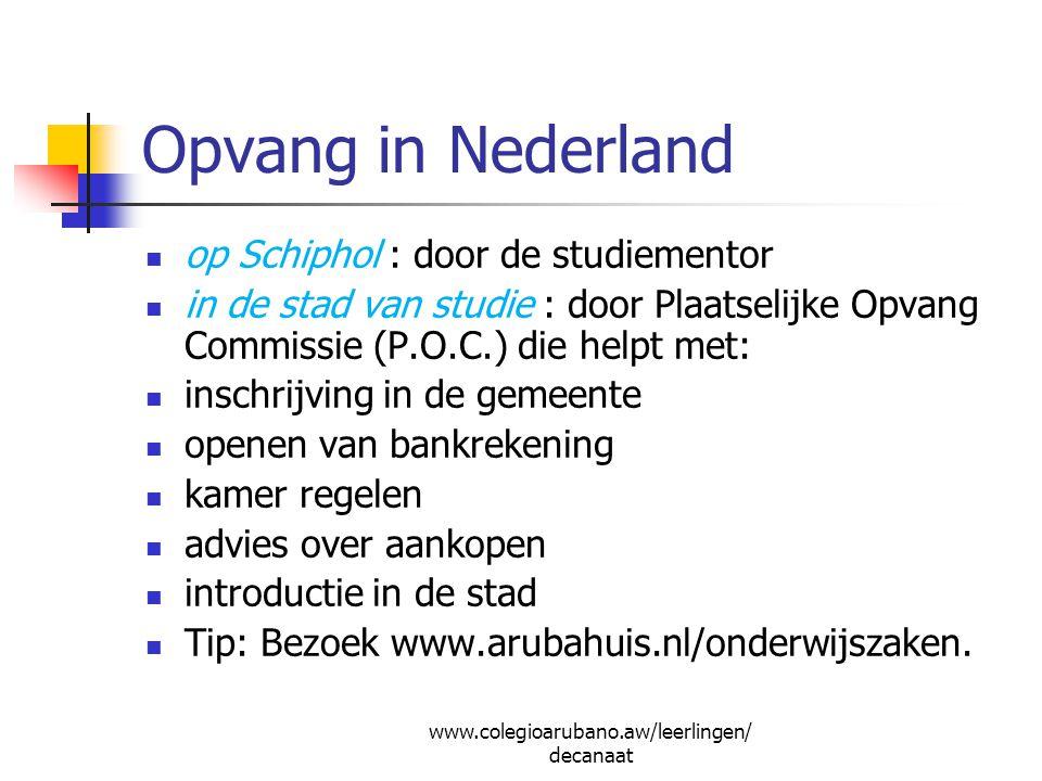 Opvang in Nederland op Schiphol : door de studiementor