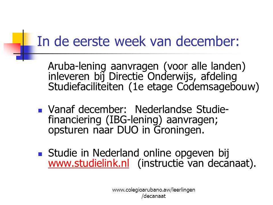 In de eerste week van december: