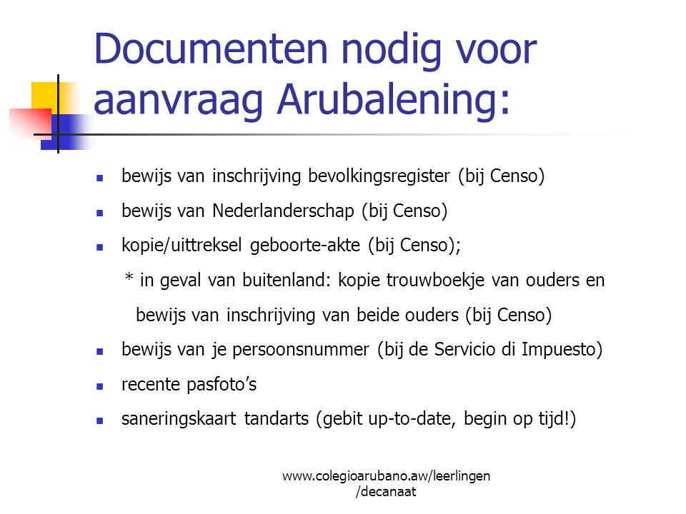 Documenten nodig voor aanvraag Arubalening: