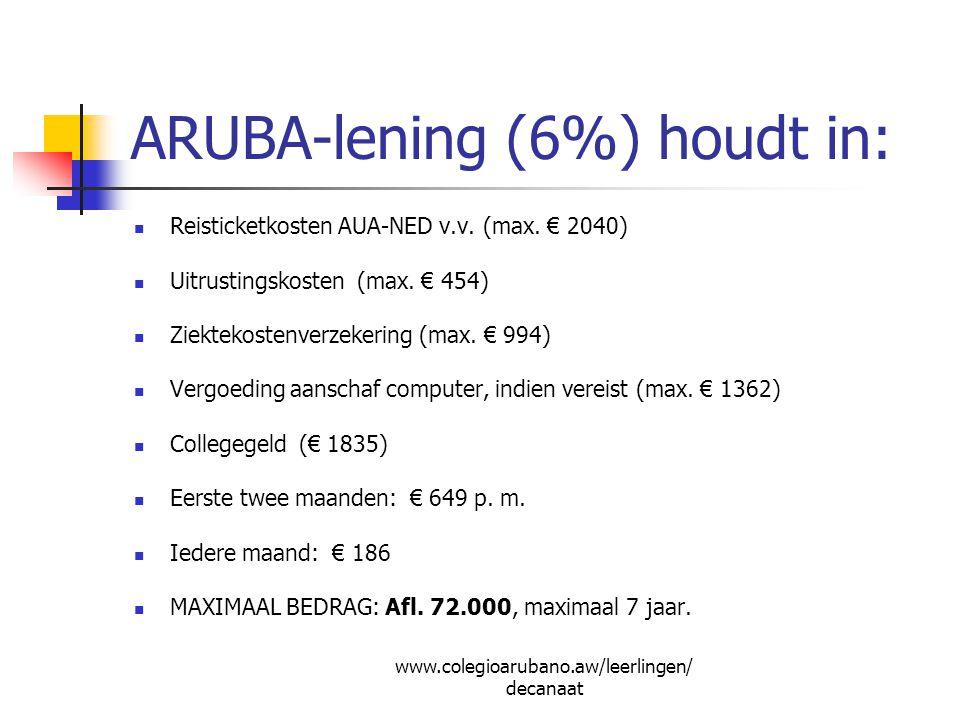 ARUBA-lening (6%) houdt in: