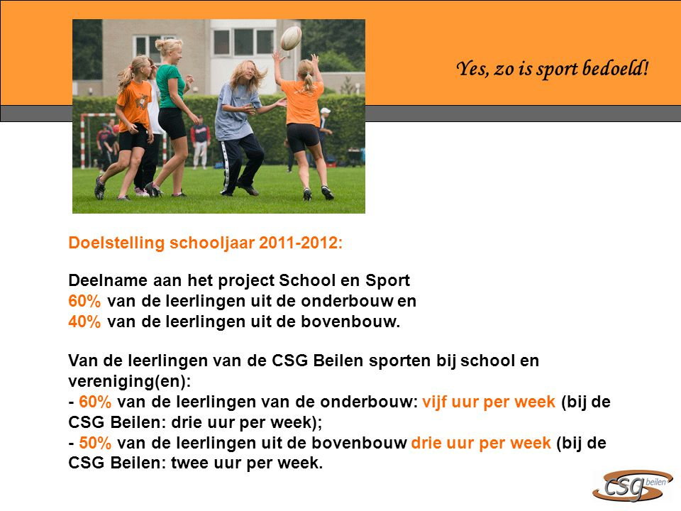Yes, zo is sport bedoeld! Doelstelling schooljaar 2011-2012: