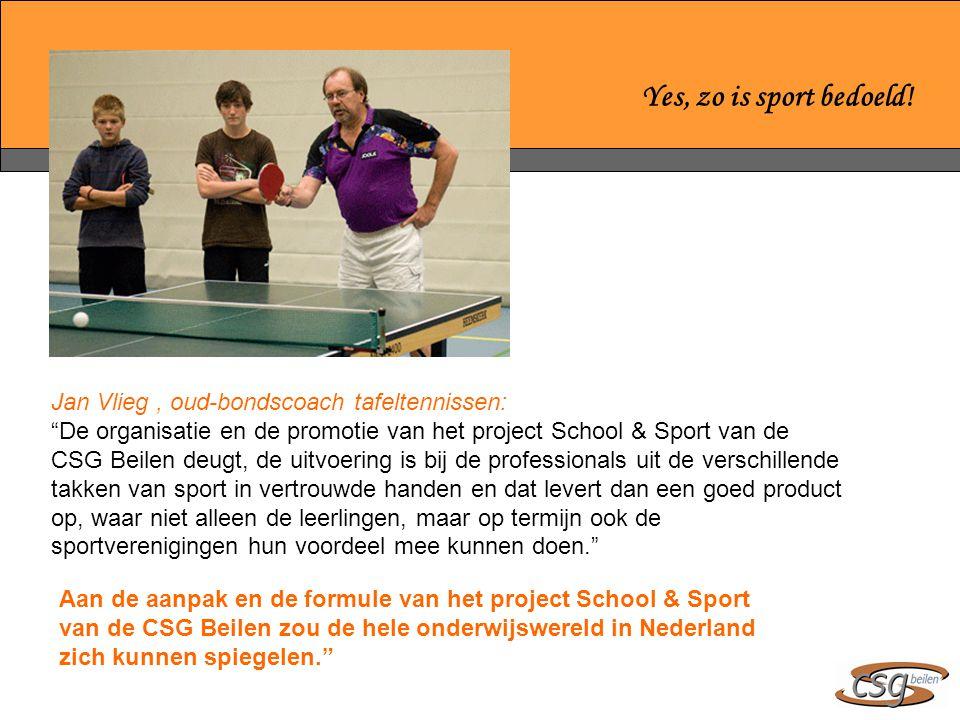 Yes, zo is sport bedoeld! Jan Vlieg , oud-bondscoach tafeltennissen: