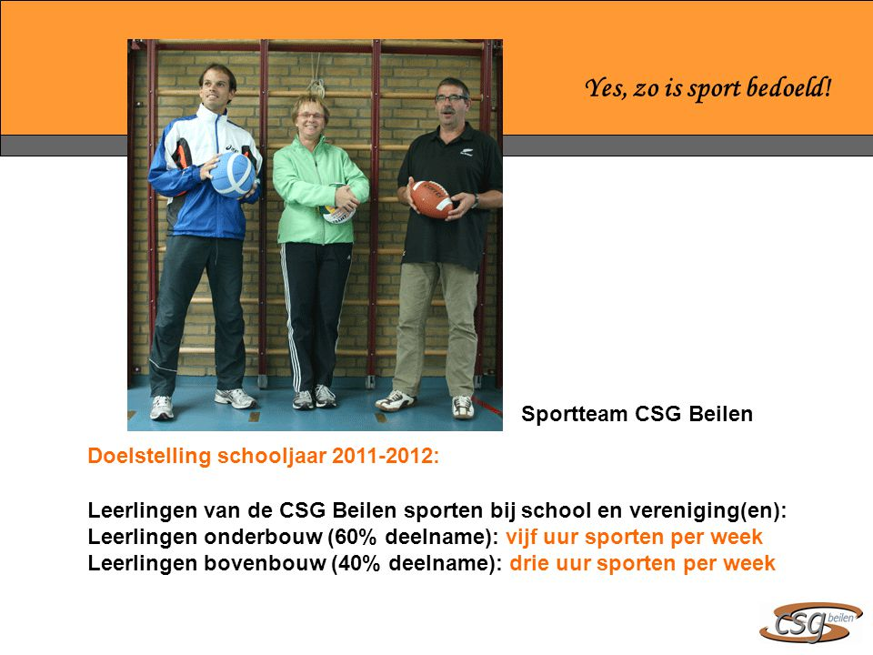 Yes, zo is sport bedoeld! Sportteam CSG Beilen