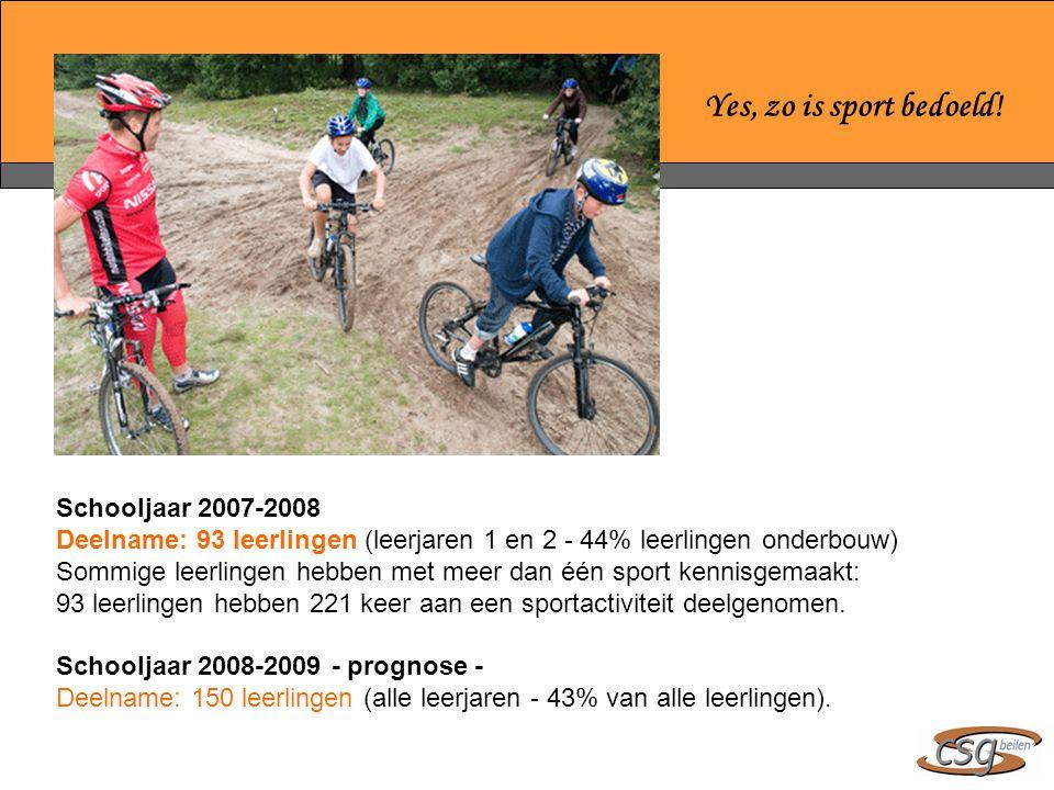 Yes, zo is sport bedoeld! Schooljaar 2007-2008