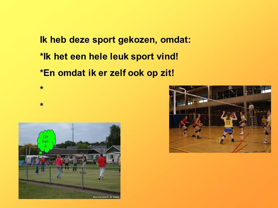 Ik heb deze sport gekozen, omdat: *Ik het een hele leuk sport vind!